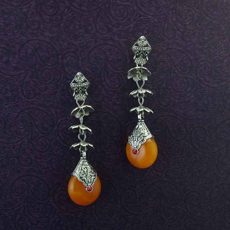 Oxidised Silver Plated Drop Dangler For Women