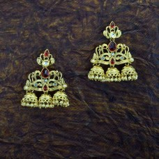 3-In-1 Golden  jhumki Earring With Red Stones