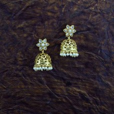 Gold Plated Jhumki With Multiple White Pearls