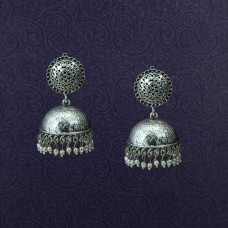 Black Silver Multiple Beads Drop Oxidised Jhumki Earrings