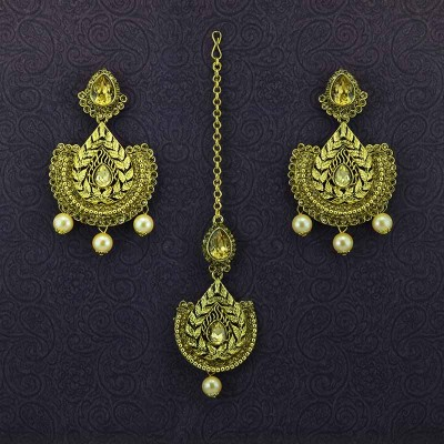 Gold Plated Maang Tikka With Beautiful Earrings