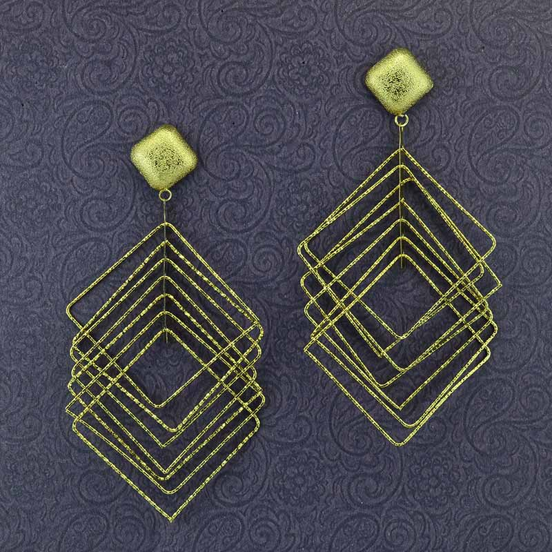 Gold Plated Cage Shape Dangler