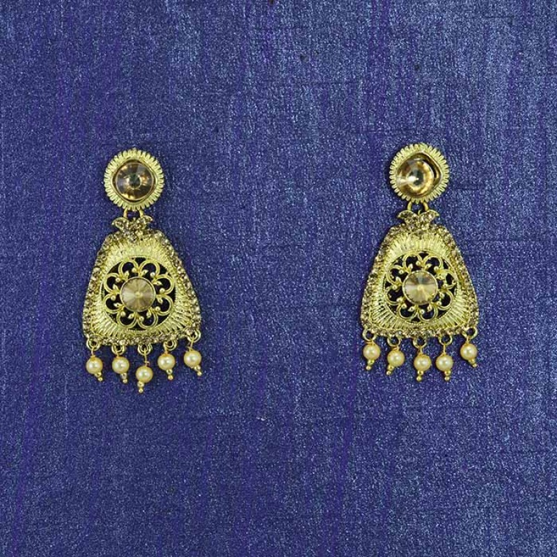 Gold Plated Kundan Pearl Drop Danglers Earring