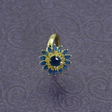 Flower Shaped Gold Plated Finger Ring In Blue Stone