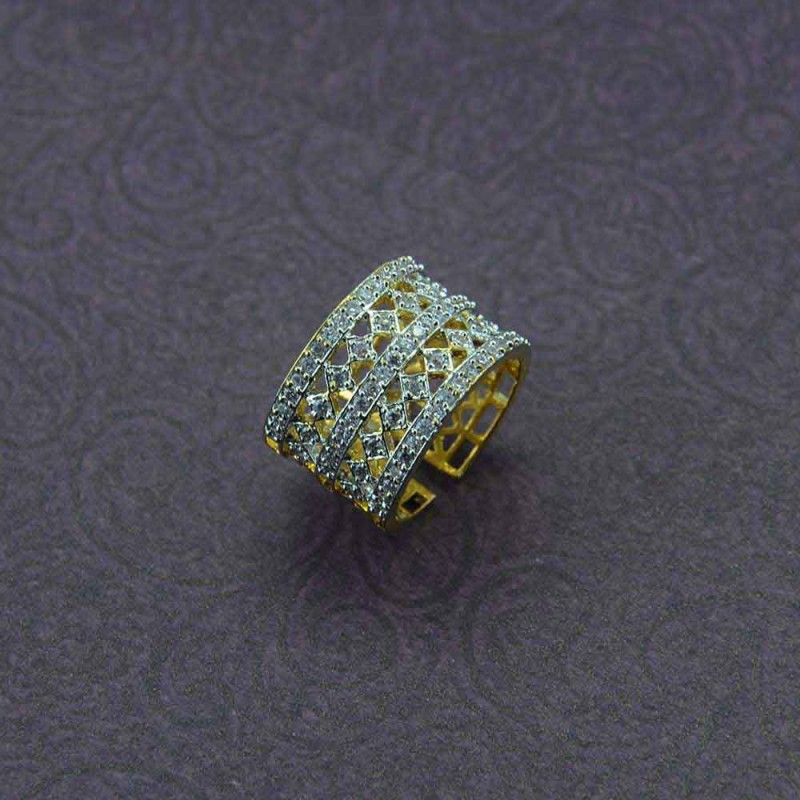 Gold Plated AD Stone Studded Ring For Women