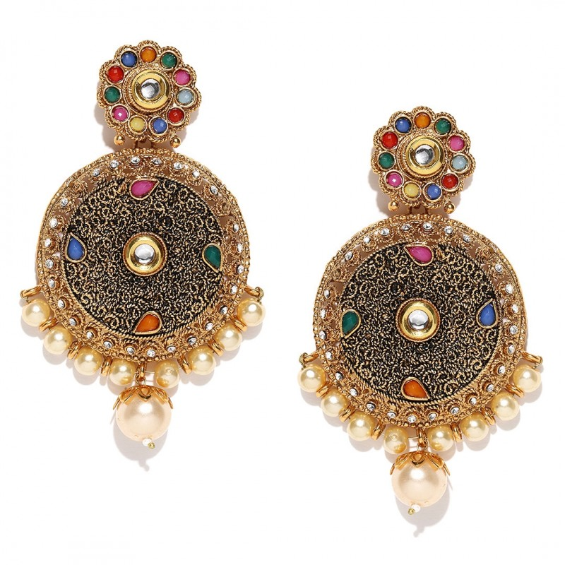 Gold Plated Drop Earrings With Synthetic Stone Studded