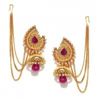 Gold Plated Stone-Studded Jhumkas In Pink Stone
