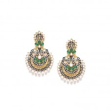 Gold Plated Chandbalis With Green Stone