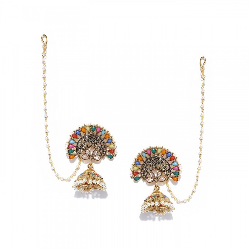 Multicolored Gold Plated Beautiful Jhumka