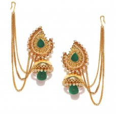 Gold Plated Stone-Studded Jhumkas In Green Stone