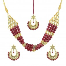 Designer Pearls Necklace Set In Maroon Color