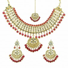 Designer Pearls And Kundan  Necklace Set In Maroon Color