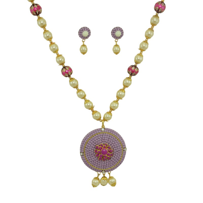 Multicolor Pearls Designer Pendant Set
