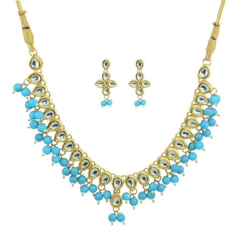 Designer Pearl And Kundan Necklace Set In Sky Blue Color