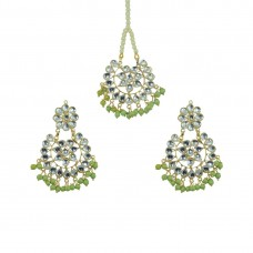 Designer Maang Tikka And Pair Of Earring With Light Green Pearls