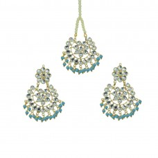 Designer Maang Tikka And Pair Of Earring With Sky Blue Pearls