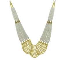 Designer Multicolor Pearls Neckpiece In Golden Color