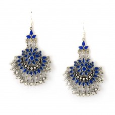 Beautiful Silver Plated Earrings With Blue And White Stones