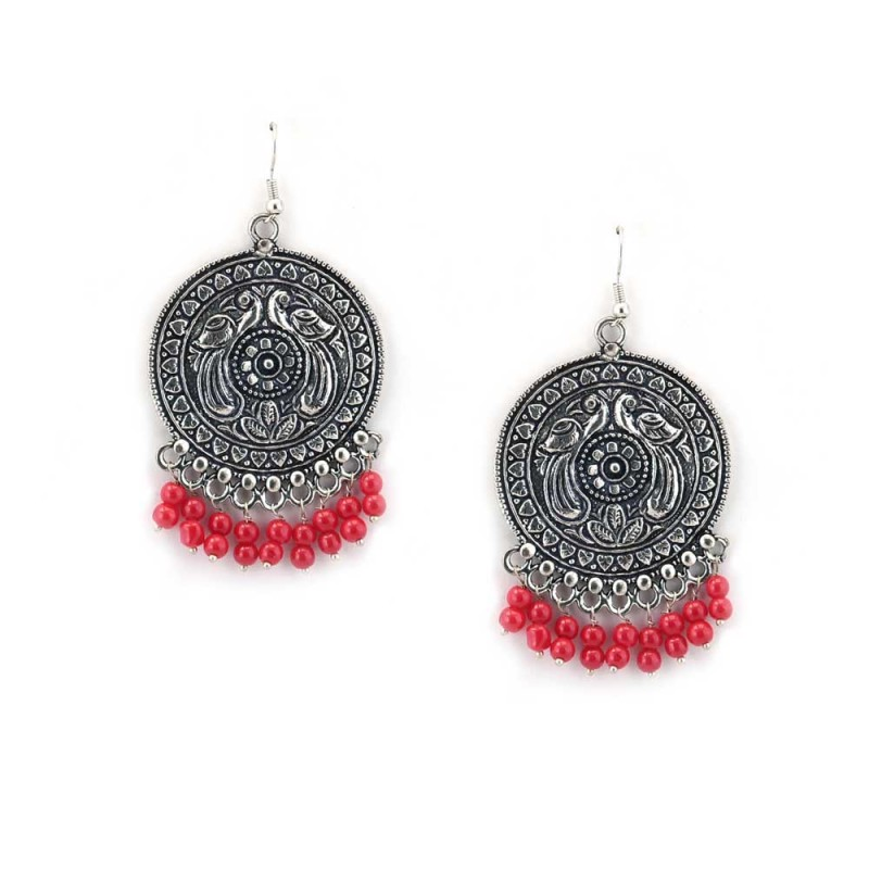 Oxidised Silver designer Earrings With Red Pearls