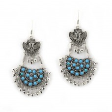 Silver Toned Studded Blue Earrings