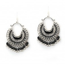 Oxidised Silver Plated Chandbalis With Black Pearls