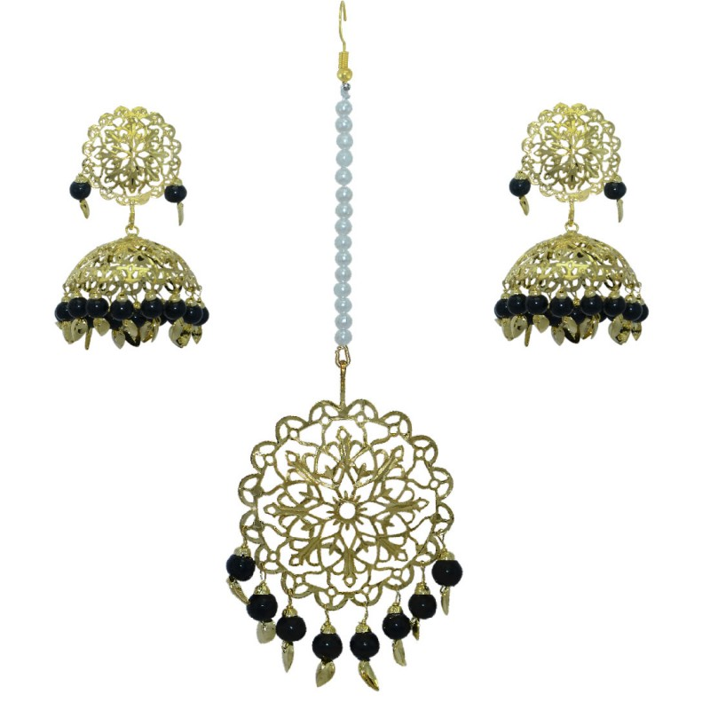 Ethnic Gold Plated  Maang Tikka  With Chandbali Earrings Set For Women