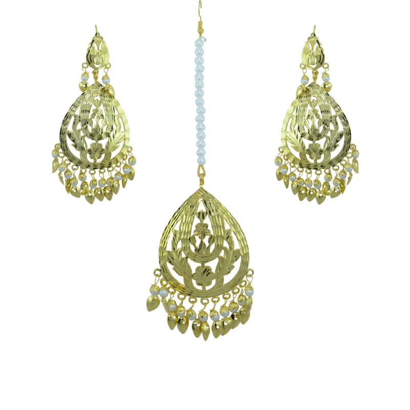Gold Tone Maang Tikka With  Pair Of Earring