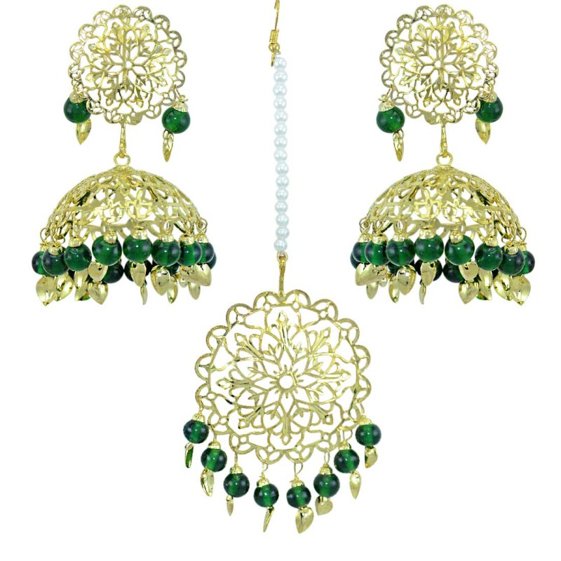 Traditional Green Color Gold Plated Maang Tikka  With Earring Set