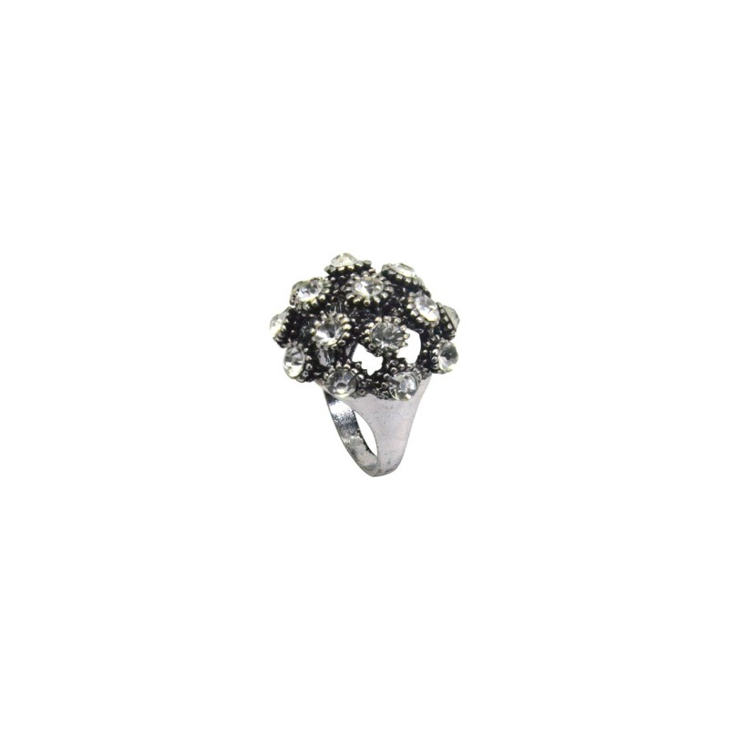 Stylish Multiple Shinny Stones Ring In Silver Color