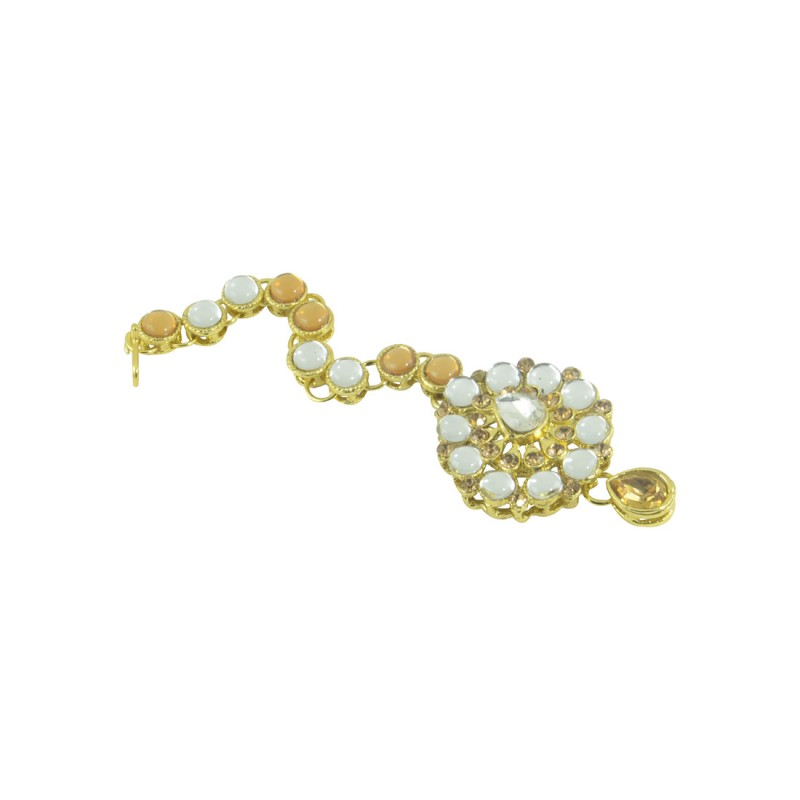 Gold Plated Maang Tikka With Yellow And White Stones