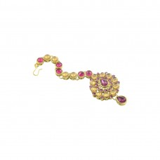 Designer Gold Plated Maang Tikka With Pink Stone