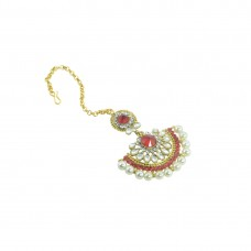 Gold Plated Maang Tikka With Shinny Pearls And Red Stones