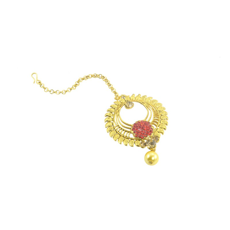 Designer Gold Plated Maang Tikka With Golden And Red Stones