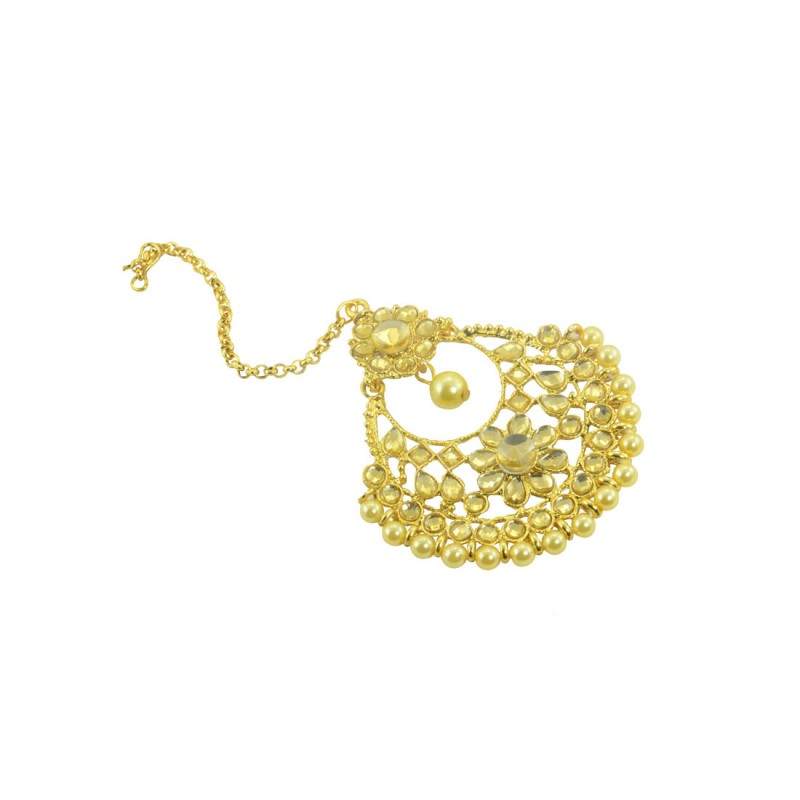 Gold Plated Round Manng Tikka With Shinny Stones