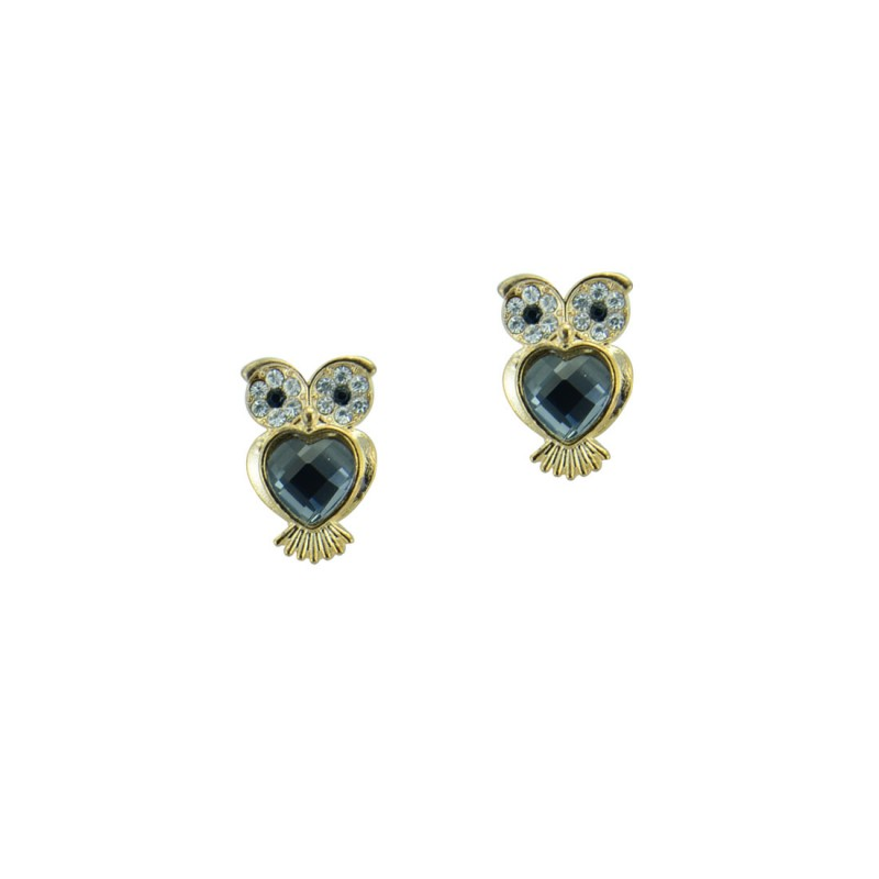 Black Studded Earrings In Owl Shape