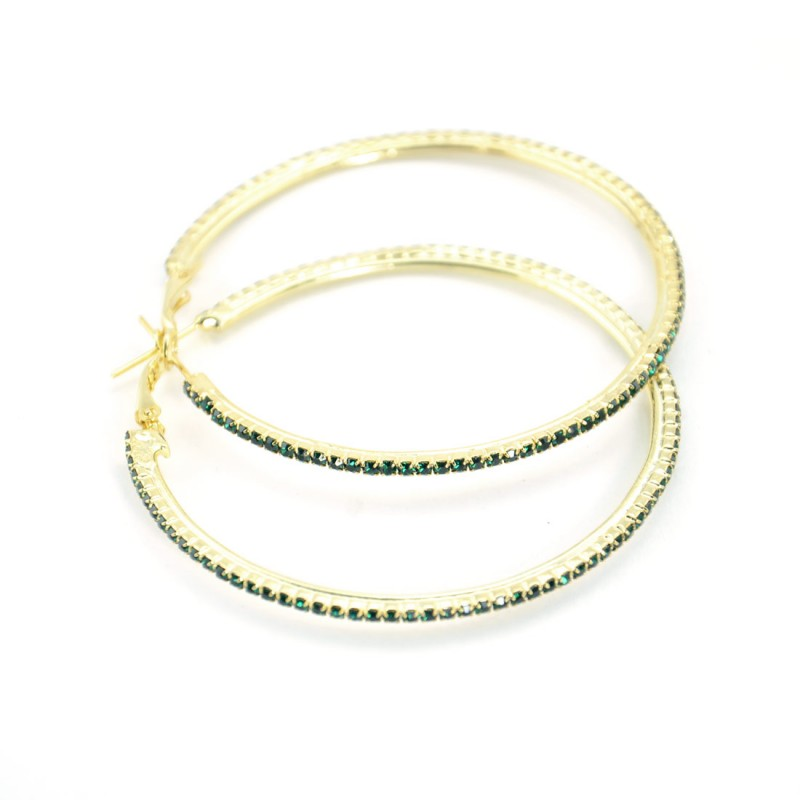 Gold Plated Green Stone Studded Hoop Earrings