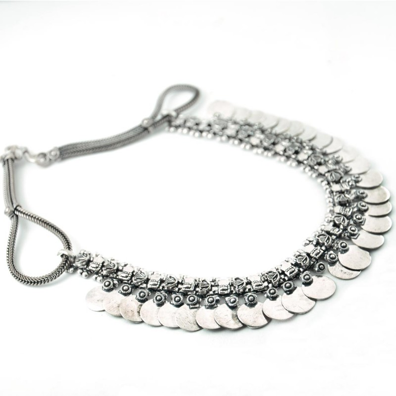 Oxidized Fully Silver Plated Tasselled Necklace