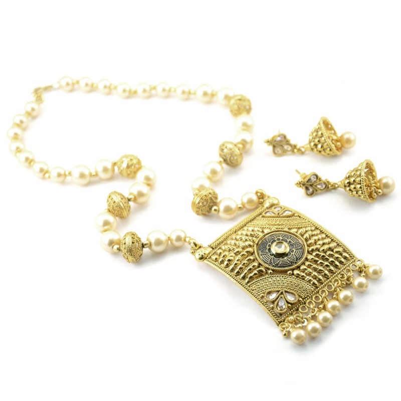 Designer Gold Plated Necklace Set With Multiple Pearls