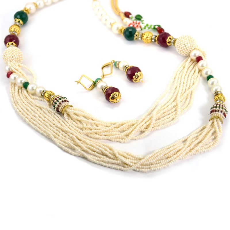 Multicolor Pearls Necklace With Shinny Stones