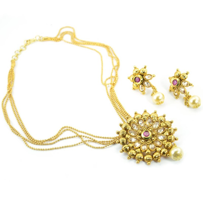 Gold Plated White Stone Necklace Set With Red Kundan