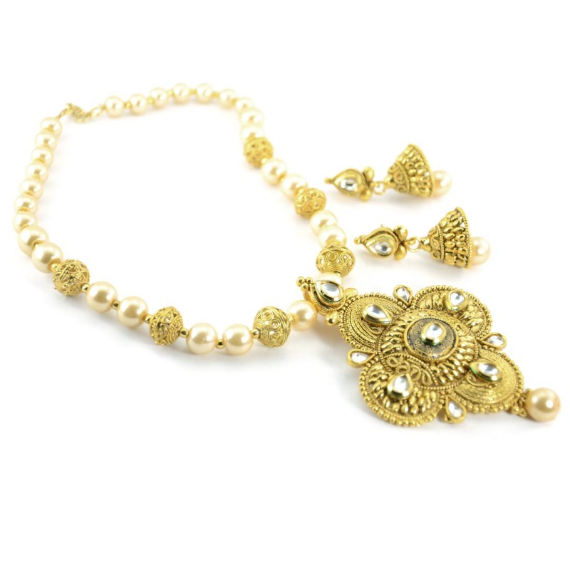 Gold Plated Beaded Necklace With Drop Jhumki Earrings