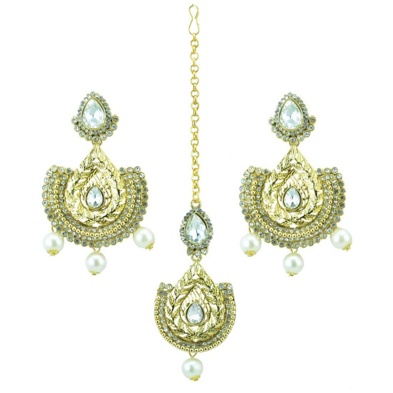 Gold Plated Maang Tikka With Pair Of Drop Earrings