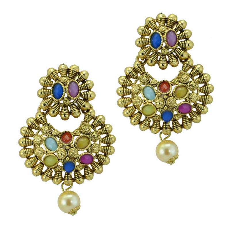 Designer Gold Plated Dangler In Multicolor Kundan