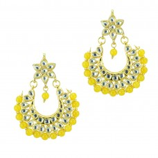 Golden Pearl Beaded Earrings In Yellow Color