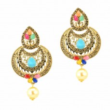 Antique Gold Plated Dangle Earrings Multicolor Kundan