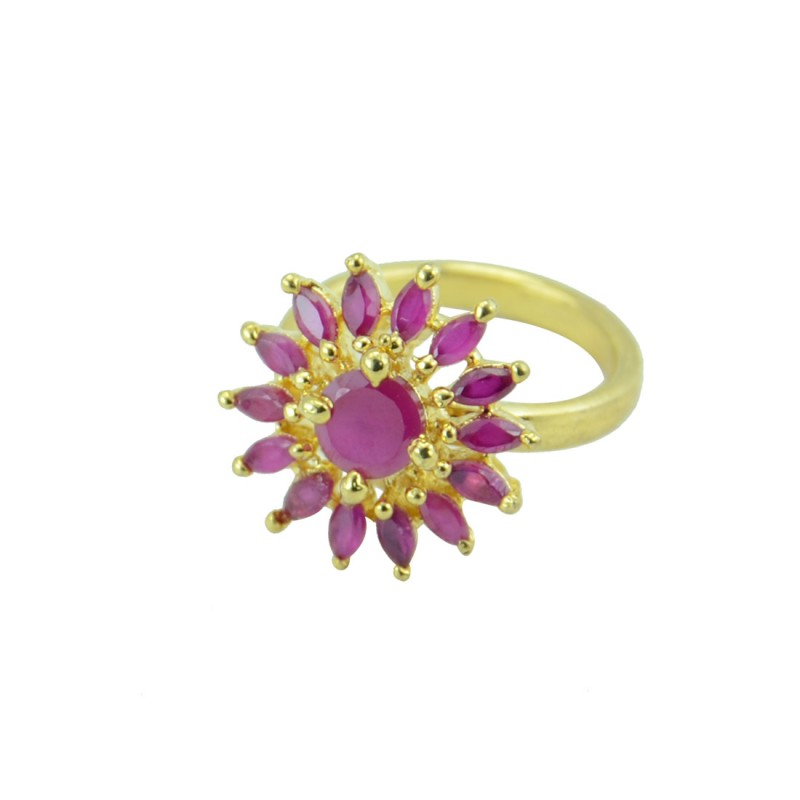 Gold Plated Floral Stone Studded Ring In Pink