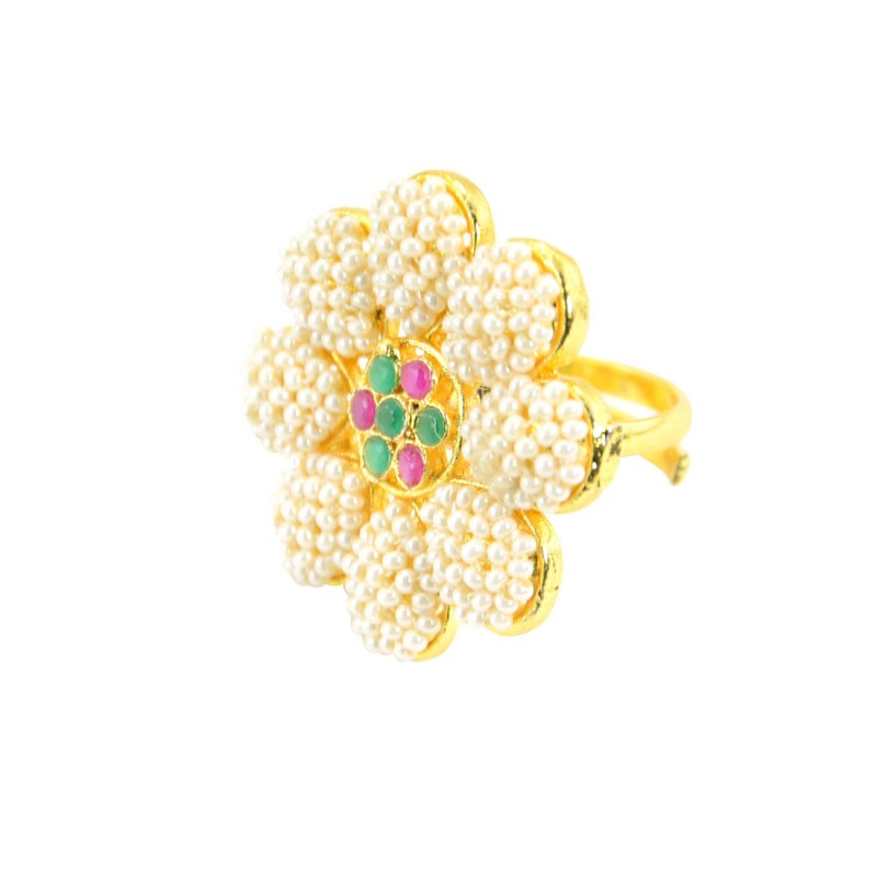 Gold Plated Pearl Studded Finger Ring