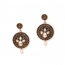 Floral Design Drop Dangler  Kundan Earrings In Black