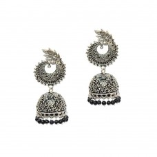 Silver Plated Jhumki With Black Pearls