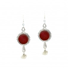 Designer Silver Plated With Red Studded  Kundan Earrings.